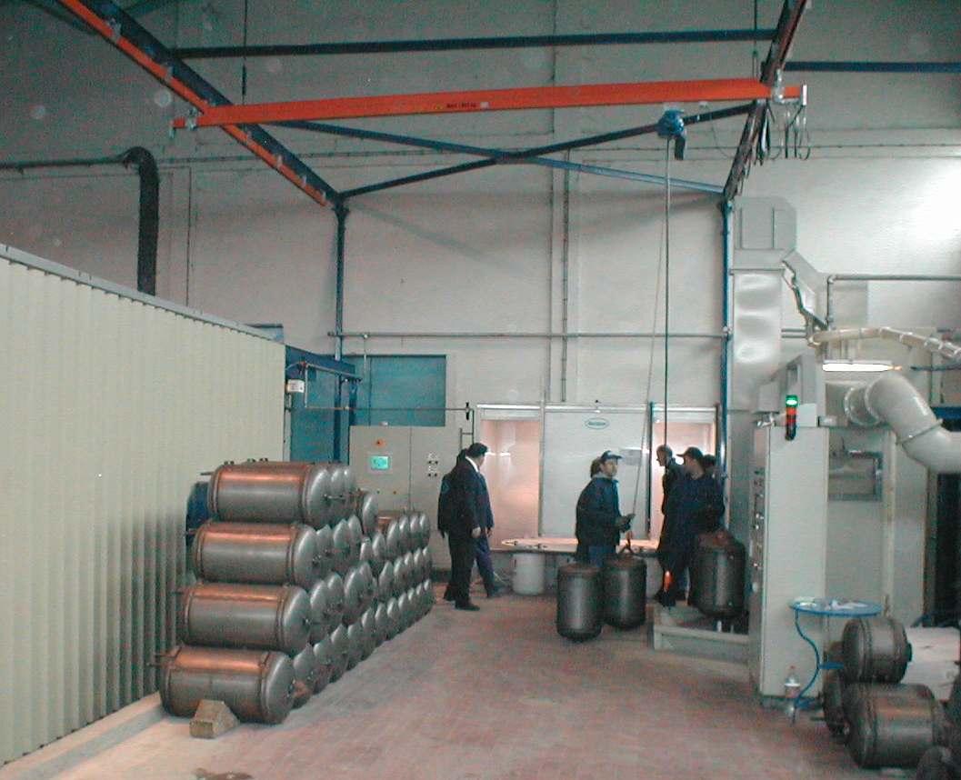 Offline powder enameling system for boilers