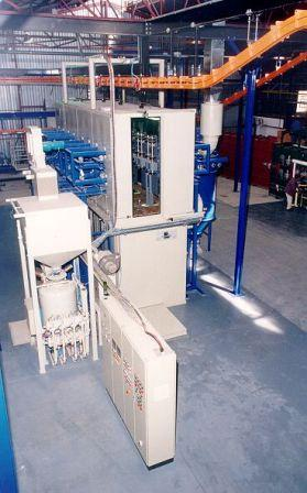 Online shotblasting machine for boilers